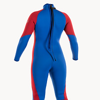 Back view of the JMJ One-Piece Fullsuit - royal blue suit with red trim and back-zip