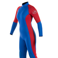 Front view of the JMJ One-Piece Fullsuit - royal blue suit with red trim and back-zip