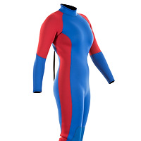 Front view of the JMJ One-Piece Fullsuit - blue suit with red trim and back-zip