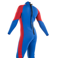 Back view of the JMJ One-Piece Fullsuit - blue suit with red trim and back-zip