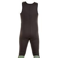 Back view of the JMJ Farmer John wetsuit in black with olive trim