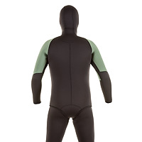 Back view of the JMJ Farmer John wetsuit with Beavertail Jacket in black with olive trim