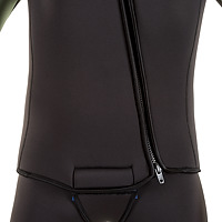 Front closeup view of the JMJ Farmer John wetsuit with Beavertail Jacket in black with olive trim showing the zipper and beavertail