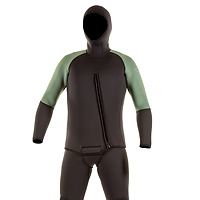 Front view of the JMJ Farmer John wetsuit with Beavertail Jacket in black with olive trim