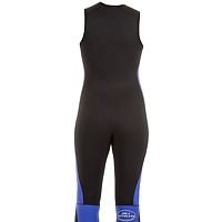 Back view of the JMJ Farmer John wetsuit in black with magic trim