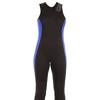 Front view of the JMJ Farmer John wetsuit in black with magic trim
