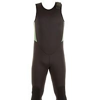 Front view of the JMJ Farmer John wetsuit in black with olive trim