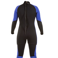 Back view of the JMJ Farmer John wetsuit with Step In Jacket in black with magic trim