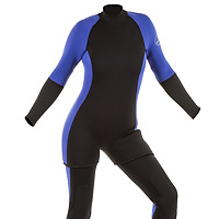 Front view of the JMJ Farmer John wetsuit with Step In Jacket in black with magic trim