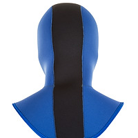 Back view of the JMJ Hood with Coldwater Bib in blue with black trim