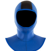 Front view of the JMJ Hood with Coldwater Bib in blue with black trim