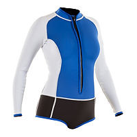 Front view of the JMJ long-sleeve spring surf wetsuit with bikini bottom in blue with black bottom and white trim