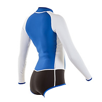 Side view of the JMJ long-sleeve spring surf wetsuit with bikini bottom in blue with black bottom and white trim