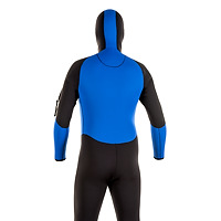 Back view of the JMJ One-Piece Fullsuit with Attached hood- black suit with royal blue trim