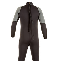 Back view of the JMJ One-Piece Fullsuit in black with grey trim and back-zip