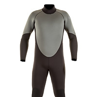 Front view of the JMJ One-Piece Fullsuit in black with grey trim and back-zip