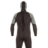Back view of the JMJ One-Piece Fullsuit shown with Hooded vest - black suit with grey trim and back-zip