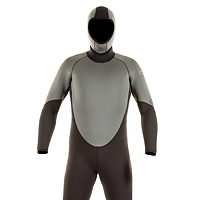 Front view of the JMJ One-Piece Fullsuit shown with Hooded Vest - black suit with grey trim and back-zip