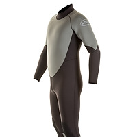 Side view of the JMJ One-Piece Fullsuit in black with grey trim and back-zip