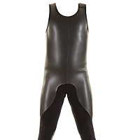 Front view of the JMJ Smoothie Farmer John wetsuit