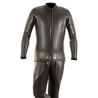 Front view of the JMJ Smoothie Farmer John wetsuit and Beavertail Jacket