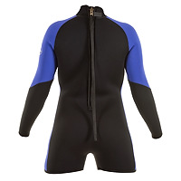 Back view of the JMJ Step In Jacket wetsuit in black with magic trim