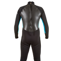 Back view of the JMJ Surf Fullsuit with back-zip - black suit with teal blue trim