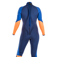 Back view of the JMJ Surf Fullsuit with back-zip - navy blue suit with royal blue, grey and orange trip.