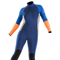 Front view of the JMJ Surf Fullsuit with back-zip - navy blue suit with royal blue, grey and orange trip.