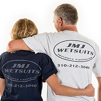 Back view of JMJ T-shirt in blue and white