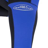 Detail photo of JMJ wetsuits logo on calf of dive Farmer John